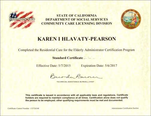Karen\'s RCFE Administrator Certificate arrives - Caring House