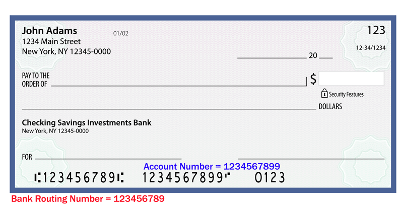 bank routing and account numbers