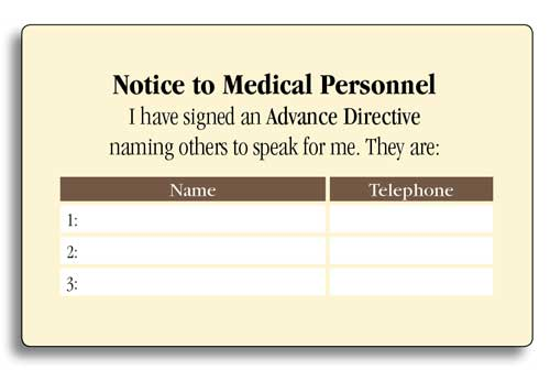 Advance Directive Wallet Card