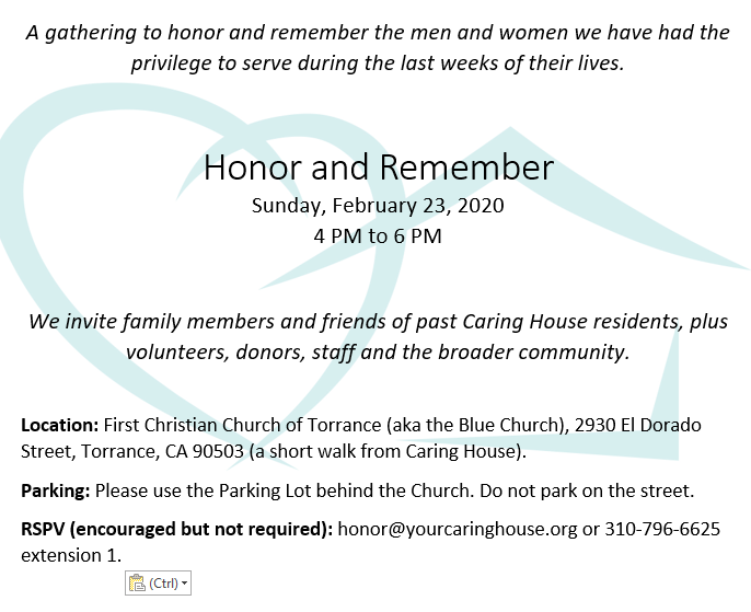 Invitation to Honor and Remember gathering