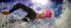 Janette Dawson swims for Caring House